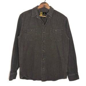 Browning Tan 100% Cotton Button Down Shirt Size M